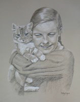black and white portrait of girl and cat - Ann and Fluffy
