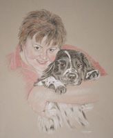 pastel portrait of a lady and her dog -  Elizabeth and mac