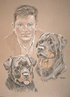 Pastel portrait of a man and his 2 dogs - Roger with Simba and Buster