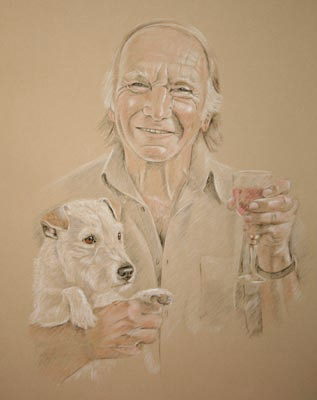 pastel portrait of one man and his dog - Ron and Molly