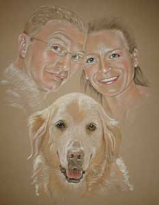 pastel portrait of couple and their dog - Nathan Karen and Oscar