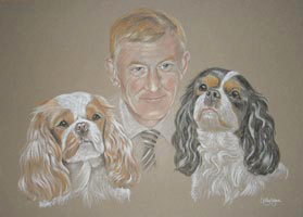 pastel portrait of man with two dogs - David Abby and Becky