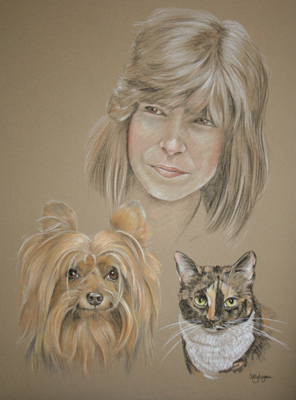 pastel portrait of dog, cat and owner - Jody Maxwell and Tiffany
