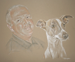 pastel portrait of man and dog
