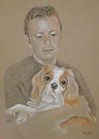 pastel portrait of man and dog  -Simon and Barney